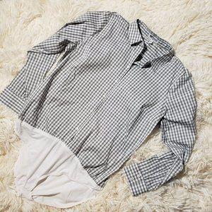 Express Fitted Plaid Essential Shirt Bodysuit